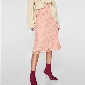 Zara Petal Pink Floral Lace A Line Skirt